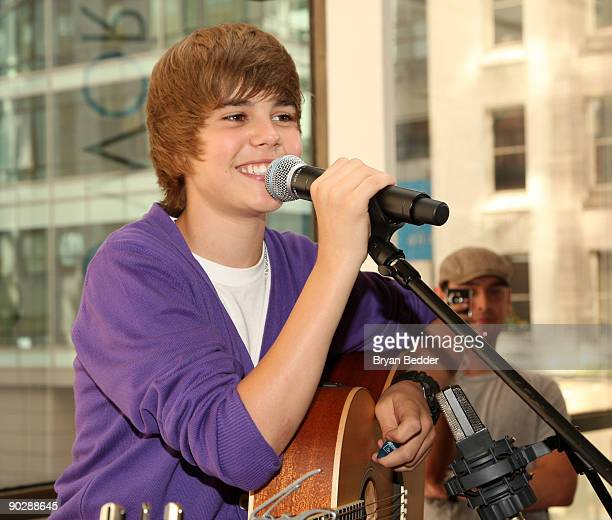 Musician Justin Bieber visits the Nintendo World Store on September 1 2009 in New York City