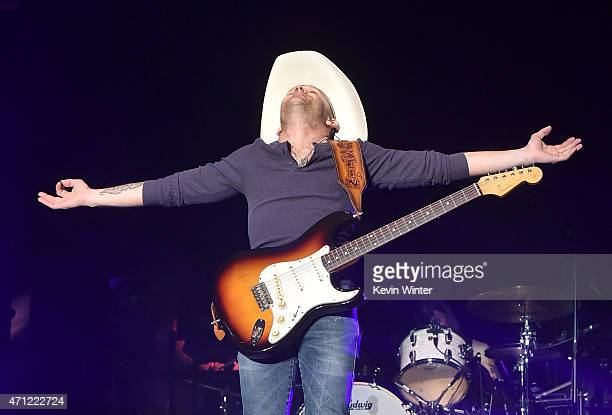Musician Justin Moore performs onstage during day two of 2015 Stagecoach California's Country Music Festival at The Empire Polo Club on April 25 2015...