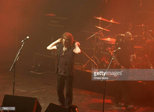 Musician Justin Sullivan and Marshall Gill of New Model Army perform at The Astoria, December 20, 2007 in London England.