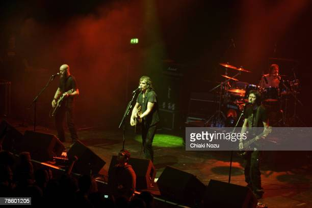 Musician Justin Sullivan, Nelson and Marshall Gill of New Model Army perform at The Astoria, December 20, 2007 in London England.