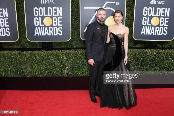 Musician Justin Timberlake and actor Jessica Biel attend The 75th Annual Golden Globe Awards at The Beverly Hilton Hotel on January 7 2018 in Beverly...