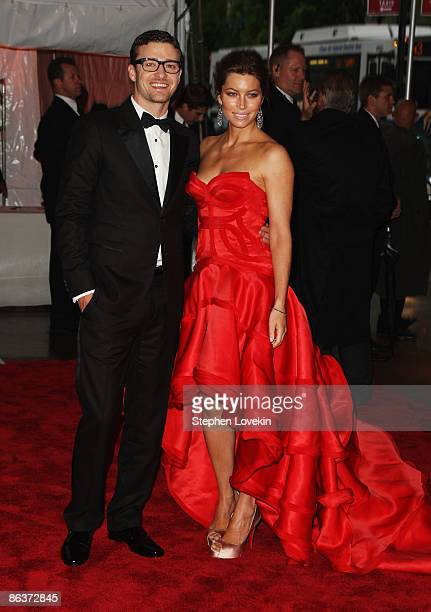 """Musician Justin Timberlake and actress Jessica Biel attend """"The Model as Muse: Embodying Fashion"""" Costume Institute Gala at The Metropolitan Museum..."""