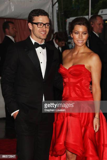 Musician Justin Timberlake and actress Jessica Biel attend The Model as Muse Embodying Fashion Costume Institute Gala at The Metropolitan Museum of...
