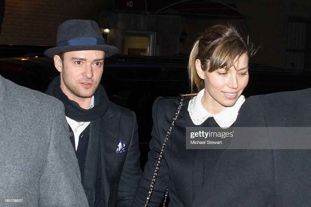 Musician Justin Timberlake (L) and actress Jessica Biel attend Timbaland's Birthday Celebration at Southern Hospitality on March 14, 2013 in New York City.