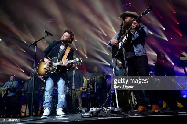Musician Justin Timberlake and Chris Stapleton perform for his Spotify Premium members at London's Roundhouse on February 22 2018 in London England