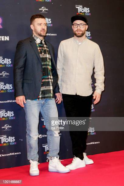 US musician Justin Timberlake and German singer Mark Forster attend the photo call for Trolls World Tour at Waldorf Astoria on February 17 2020 in...