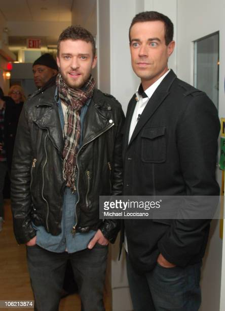 """Musician Justin Timberlake and MTV VJ Carson Daly pose backstage during MTV's TRL """"Total Finale Live"""" at the MTV Studios in Times Square on November..."""