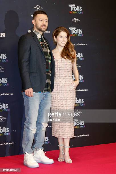 US musician Justin Timberlake and US actress and singer Anna Kendrick attend the photo call for Trolls World Tour at Waldorf Astoria on February 17...