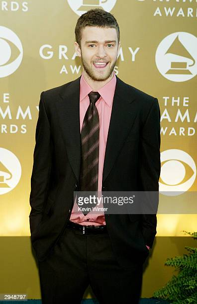Musician Justin Timberlake arrives at the 46th Annual Grammy Awards held at the Staples Center on February 8 2004 in Los Angeles California