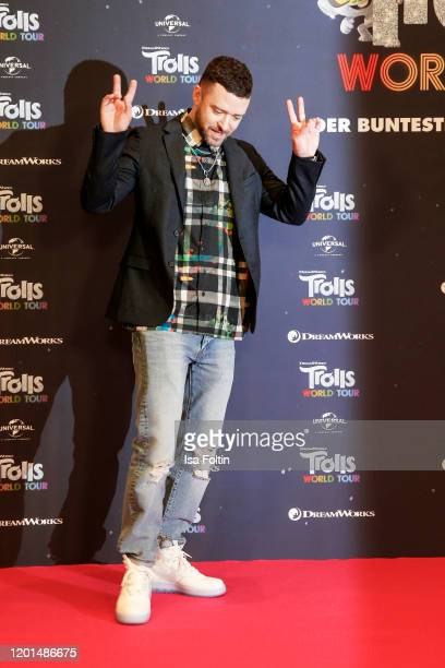 US musician Justin Timberlake attends the photo call for Trolls World Tour at Waldorf Astoria on February 17 2020 in Berlin Germany
