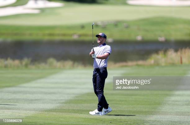 Musician Justin Timberlake hits a shot on the second hole during round one of the American Century Championship at Edgewood Tahoe South golf course...