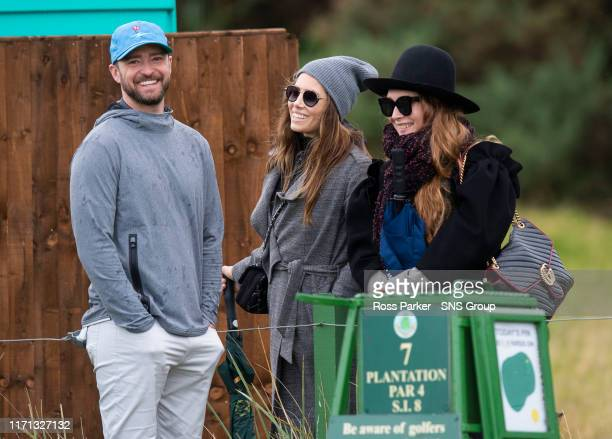 Musician Justin Timberlake is pictured alongside his wife Jessica Biel during Day One of the 2019 Alfred Dunhill Links Championship at Carnoustie...
