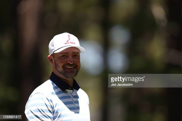 Musician Justin Timberlake looks on from the 16th hole during the final round of the American Century Championship at Edgewood Tahoe South golf...