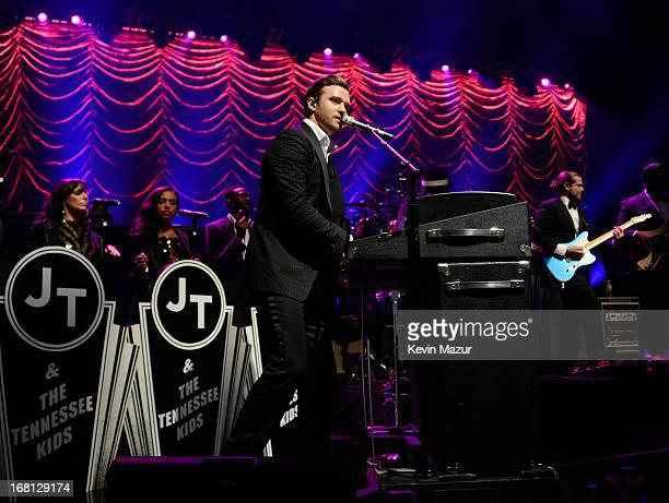 Musician Justin Timberlake performs during MasterCard Priceless Premieres Presents Justin Timberlake at Roseland Ballroom on May 5 2013 in New York...