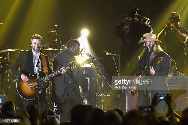 Musician Justin Timberlake performs onstage with Singersongwriter Chris Stapleton at the 49th annual CMA Awards at the Bridgestone Arena on November...