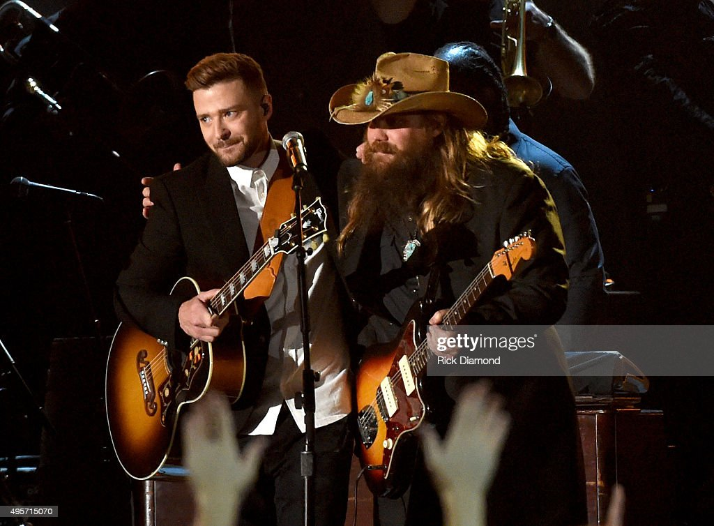 Musician Justin Timberlake (L) performs onstage with Singer-songwriter Chris Stapleton (R)performs onstage at the 49th annual CMA Awards at the Bridgestone Arena on November 4, 2015 in Nashville, Tennessee.