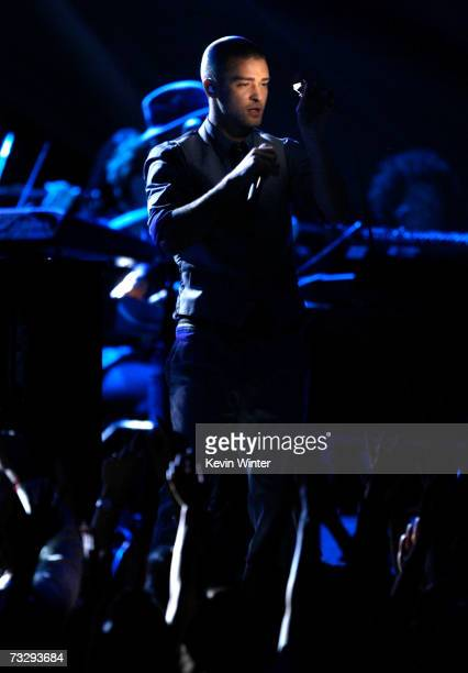 """Musician Justin Timberlake performs """"What Goes Around Comes Around"""" onstage at the 49th Annual Grammy Awards at the Staples Center on February 11,..."""