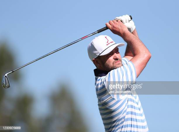 Musician Justin Timberlake tees off from the first hole during the final round of the American Century Championship at Edgewood Tahoe South golf...