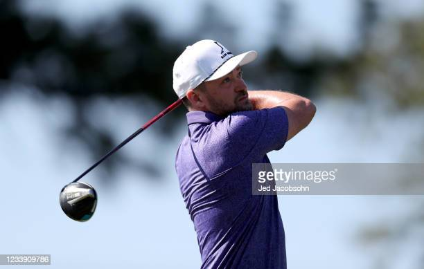 Musician Justin Timberlake tees off on the third hole during round two of the American Century Championship at Edgewood Tahoe South golf course on...