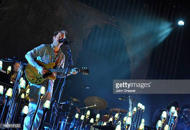 Musician Justin Vernon of Bon Iver performs during Day 2 of the 2012 Coachella Valley Music Arts Festival held at the Empire Polo Club on April 14...