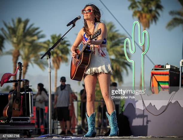 Musician Kacey Musgraves performs onstage during day one of 2015 Stagecoach California's Country Music Festival at The Empire Polo Club on April 24...