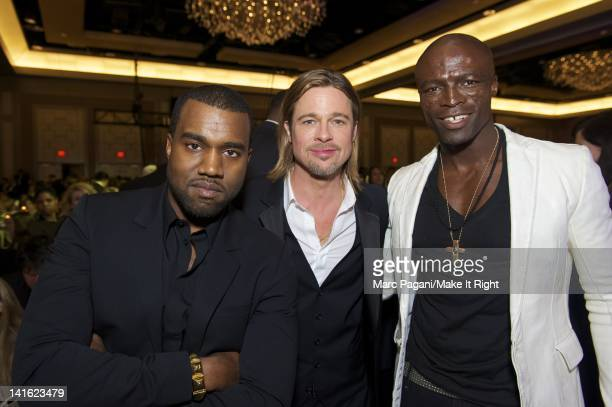 Musician Kanye West actor Brad Pitt and singer Seal attend A Night To Make It Right Gala at the Hyatt Regency New Orleans on March 10 2012 in New...