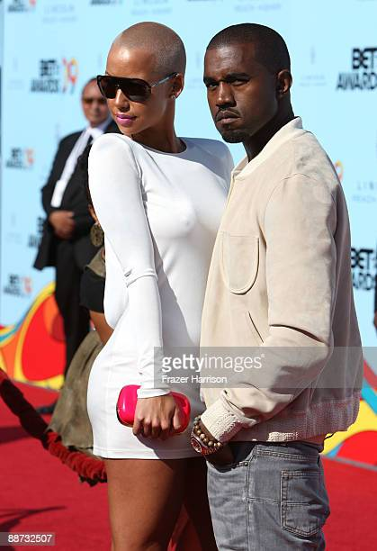 Musician Kanye West and Amber Rose arrive at the 2009 BET Awards held at the Shrine Auditorium on June 28 2009 in Los Angeles California
