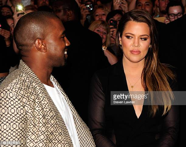 Musician Kanye West and television personality Khole Kardashian arrive at the Tao Nightclub at the Venetian Resort Hotel Casino on October 24, 2014...