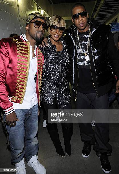 MIAMI MARCH 22 Musician Kanye West Musician Mary J Blige and Musician JayZ backstage before they perform at American Airlines Arena on March 22 2008...
