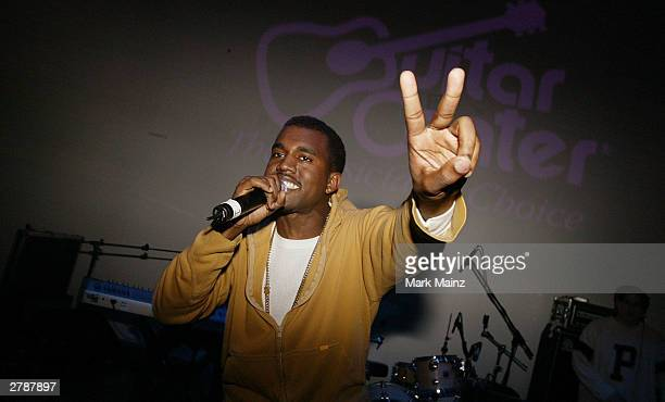 Musician Kanye West performs at the Fader 20 Pop Life Party at Diane Von Furstenberg NYC Studios December 5 2003 in New York City