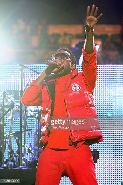 Musician Kanye West performs on stage during Z100's Jingle Ball 2008 Presented by HM at Madison Square Garden on December 12 2008 in New York City