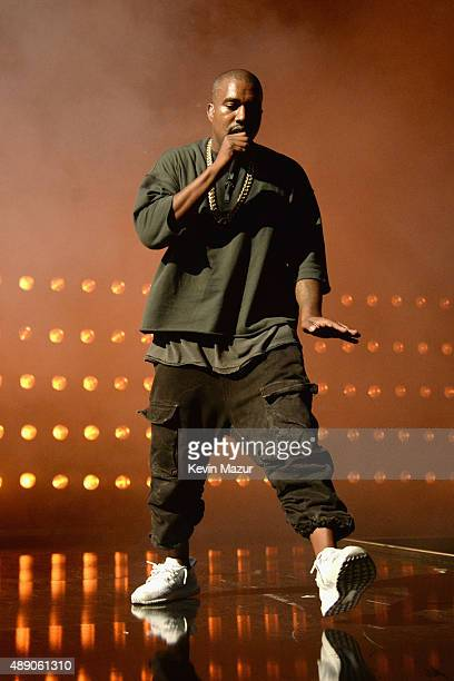 Musician Kanye West performs onstage at the 2015 iHeartRadio Music Festival at MGM Grand Garden Arena on September 18 2015 in Las Vegas Nevada