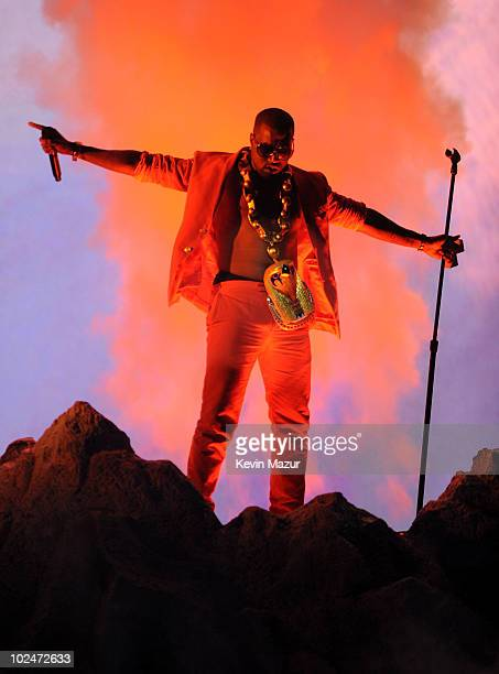 Musician Kanye West performs onstage during the 2010 BET Awards held at the Shrine Auditorium on June 27, 2010 in Los Angeles, California.