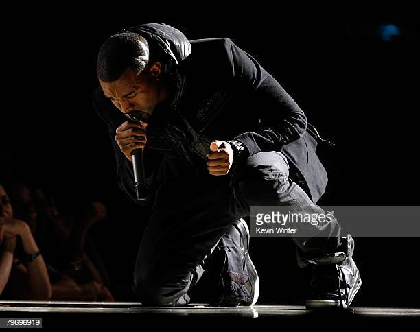 Musician Kanye West performs onstage during the 50th annual Grammy awards held at the Staples Center on February 10, 2008 in Los Angeles, California.