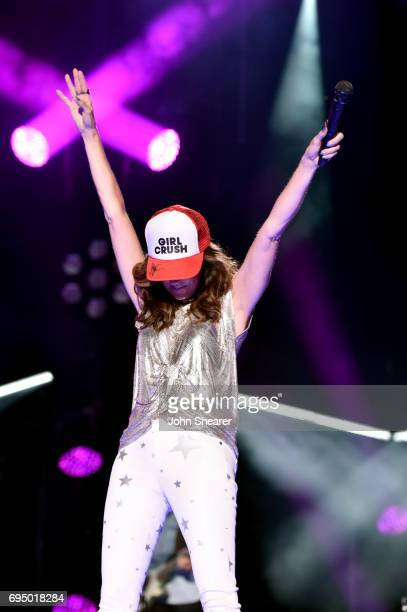 Musician Karen Fairchild of Little Big Town performs onstage for day 4 of the 2017 CMA Music Festival on June 11 2017 in Nashville Tennessee