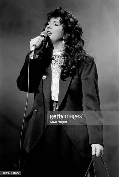 Musician Kate Bush performing on stage at the Secret Policeman's Ball in aid of Amnesty International at London Palladium March 1987
