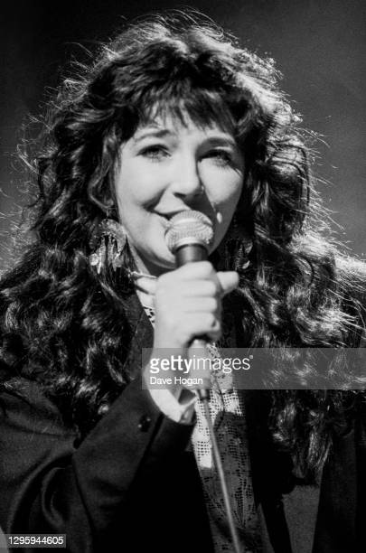 Musician Kate Bush performing on stage at the Secret Policeman's Ball, in aid of Amnesty International, at London Palladium, March 1987