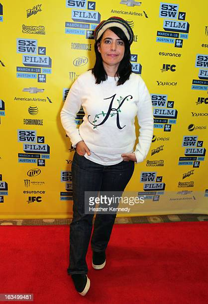 Musician Kathleen Hanna poses in the greenroom at the screening of The Punk Singer during the 2013 SXSW Music Film Interactive Festival at Austin...
