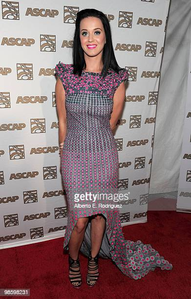 Musician Katy Perry arrives at the 27th Annual ASCAP Pop Music Awards held at the Renaissance Hollywood Hotel on April 21 2010 in Hollywood California