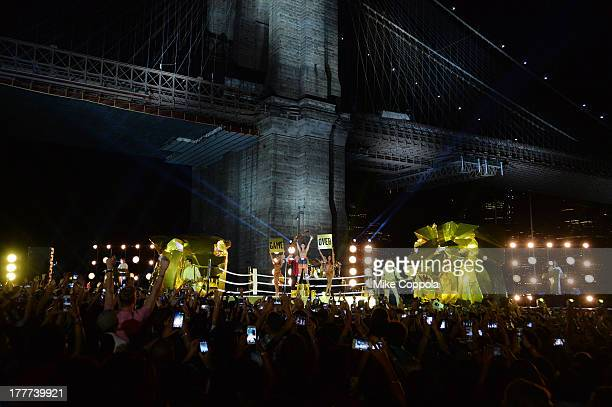 Musician Katy Perry performs during the 2013 MTV Video Music Awards in EmpireFulton Ferry Park on August 25 2013 in the Brooklyn borough of New York...