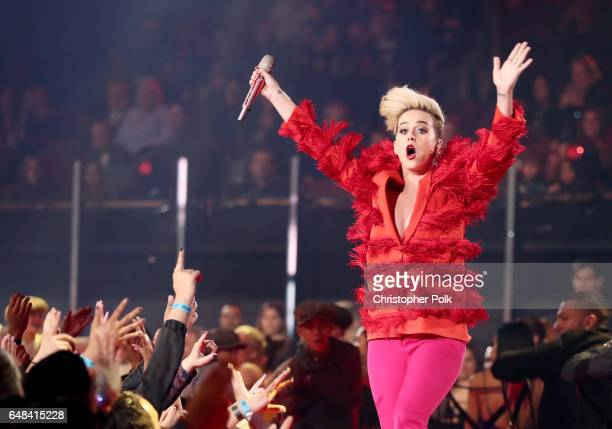 Musician Katy Perry performs onstage at the 2017 iHeartRadio Music Awards which broadcast live on Turner's TBS TNT and truTV at The Forum on March 5...
