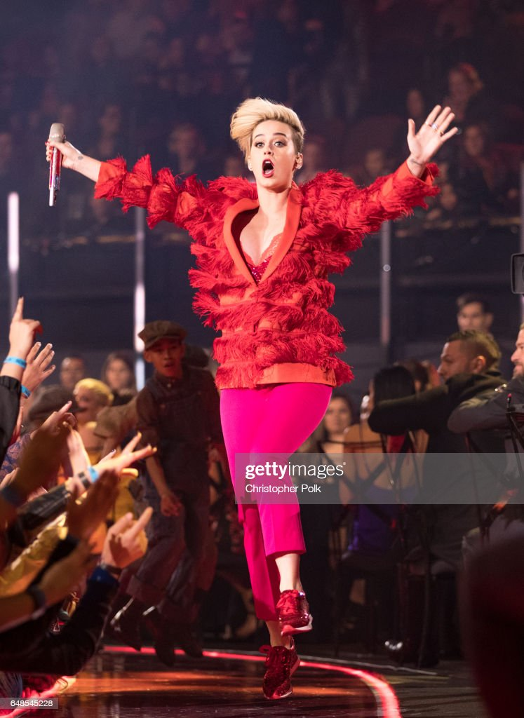 Musician Katy Perry performs onstage at the 2017 iHeartRadio Music Awards which broadcast live on Turner's TBS, TNT, and truTV at The Forum on March 5, 2017 in Inglewood, California.