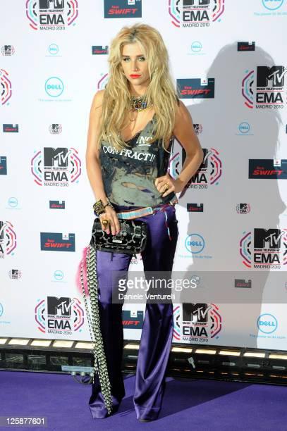 Musician Ke$ha attends the MTV Europe Music Awards 2010 at La Caja Magica on November 7 2010 in Madrid Spain