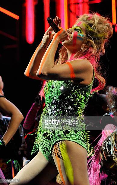 Musician Ke$ha performs during the MTV Europe Music Awards 2010 live show at La Caja Magica on November 7 2010 in Madrid Spain