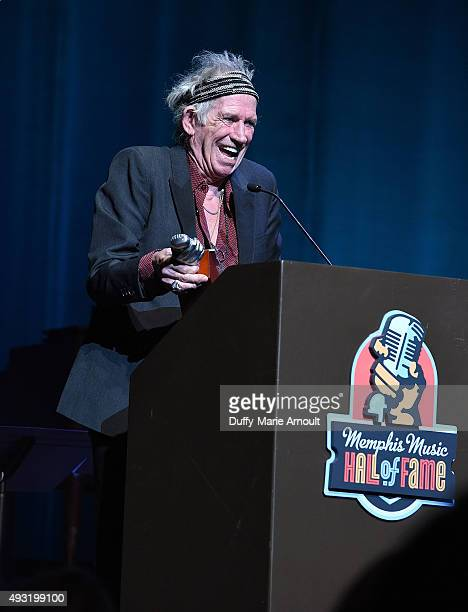 Musician Keith Richards accepts the induction award on behalf of Scotty Moore during the Memphis Music Hall of Fame Induction Ceremony at the Cannon...