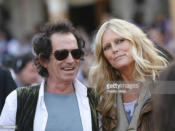 Musician Keith Richards and wife Patti Hansen attend the premiere of Walt Disney's Pirates Of The Caribbean At World's End held at Disneyland on May...