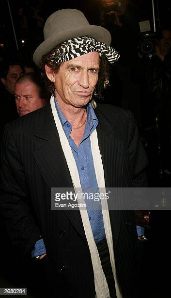 "Musician Keith Richards arrives at The Rolling Stones ""Four Flicks"" DVD launch celebration at Capitale, October 29, 2003 in New York City."