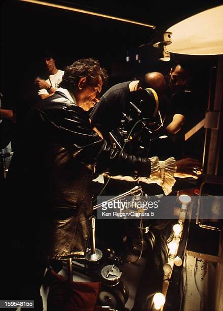 Musician Keith Richards is photographed on the set of his 'Wicked As It Seems' music video in 1992 in Los Angeles California