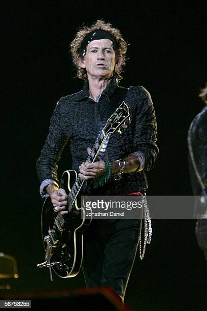 Musician Keith Richards of The Rolling Stones perform during the 'Sprint Super Bowl XL Halftime Show' at Super Bowl XL between the Seattle Seahawks...