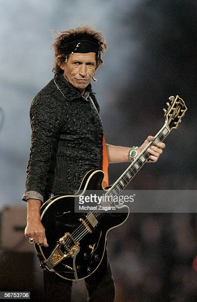 Musician Keith Richards of The Rolling Stones perform during the Sprint Super Bowl XL Halftime Show at Super Bowl XL between the Seattle Seahawks and...